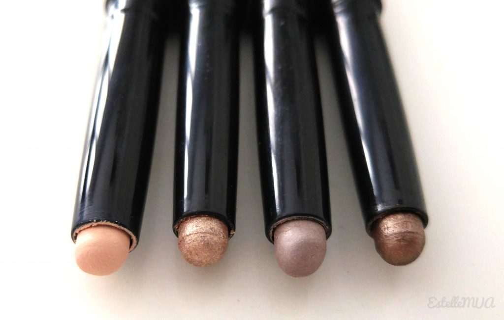 Longlasting eyeshadow sticks by Kiko in the color: 28 Bright ivory // 07 Golden beige // 25 Light taupe // 06 Golden brown