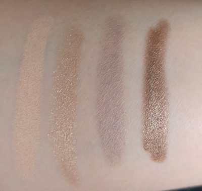 Swatch on skin of the longlasting eyeshadow stick by Kiko of the colors 28 Bright ivory // 07 Golden beige // 25 Light taupe // 06 Golden brown